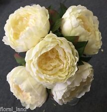 SILK WEDDING PEONY PEONIE ROSE CREAM IVORY PINK TINGE FLOWER FLOWERS BOUQUET