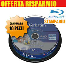 VERBATIM BLUE RAY DISC BD-R LTH TYPE 25GB 6x STAMPABILI PRINTABLE CAMPANA 10 DVD