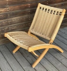 Mid Century Modern Hans Wagner Style Folding Chair Woven