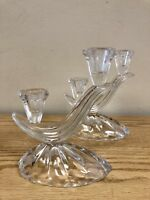 Pair Of Vintage Pressed Glass Candle Holders