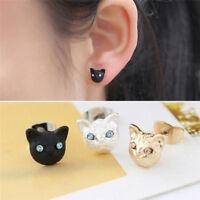 Lovely Cat Ear Stud Earrings Crystal Rhinestone Cat Eye Earring Women JewelBPYW
