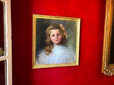 Huile sur toile du XIXe siècle - Portrait de petite fille - Cadre en bois doré