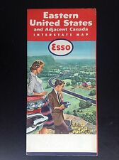 Rare ancien dépliant Brochure map carte ESSO Eastern united states