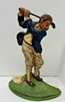 Vtg Painted Heavy Cast Iron Old Fashioned Golfer Golf Sporting Doorstop Bookend
