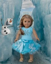 "18"" American Girl Doll Elsa Rhinestone Snowflake Pettiskirt Dress Costume"
