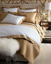 NEW Ralph Lauren Langdon Border 624 White Polished Bronze KING Pillow Sham $145