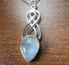 "925 Sterling Silver Rainbow Moonstone gemset Collier 16.8/"" 9.6 G"