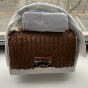 Michael Kors Cece Extra-Small Woven Leather Crossbody Bag Luggage