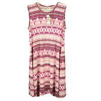 Style Co Sleeveless A-Line Dress Waves Rose Pink Women's S New
