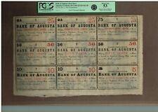 BANK OF AUGUSTA  1863   RARE UNCUT SHEET  25-25-75-50-50-50-10-10-5  PCGS 53