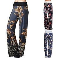 Womens Floral Print Trousers Ladies Casual Wide Leg Flared Loose Pants Leggings