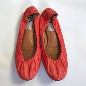 Lanvin Ballet Flats Pumps Snakeskin Women's US 8 Leather 38 Coral Red