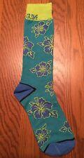 Body Glove Mens Crew Socks Fun Hot Sox Athletic Green Aqua Blue Floral L New