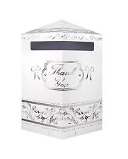 Hexagonal White/Silver Wedding Card Post Box With Bow/Receiving Box/Wishing Well