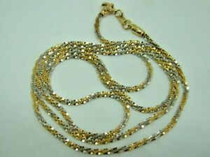 SPARKLY 18CT YELLOW AND WHITE GOLD NECKLET CHAIN - 20 INCHES