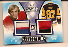 SIDNEY CROSBY & GUY LAFLEUR 16-17 LEAF HEROES & PROSPECT DUAL GAME USED PATCH /3