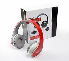 Red Bluetooth Headphones with NFC fit for all smart cell phones PC Laptop Tablet