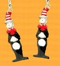 Funky Dr Seuss CAT-in-the-HAT EARRINGS Reading Charm Teacher Costume Jewelry-BDY