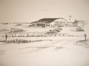 Sikorsky Airport,Stratford,CT;8/2/47Sketch-James Tabor,(1/150)Litho Ltd Ed Prnt