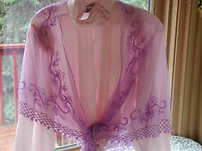 LAVENDER PURPLE NET SHAWL WRAP PROM FORMAL / RED HAT SOCIETY PRETTY BEADED NEW !