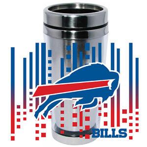 Buffalo Bills Logo Travel Mug Tumbler Stainless Steel NEW Clear Insert