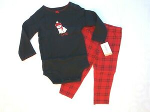 Carter's girl's 12 month red black plaid cozy bear long sleeve leggings outfit
