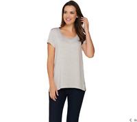 H by Halston Essentials Scoop Neck Knit Top Color Hthr Flint Grey Size Medium