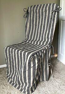 Pottery Barn Armless Dining Side Chair Slip Cover Veranda Ticking Striped Black