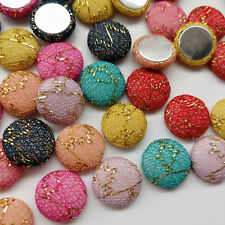 50/100pcs Fabric Covered Button Flatback No Hole To Sew Craft Flower Center