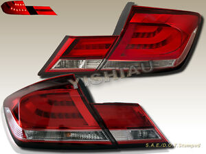 Fit for 2013 2014 2015 Honda Civic 4Door Sedan Red / Clear LED Tail Lights