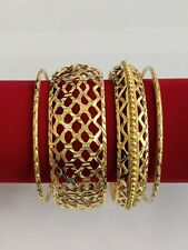 22k Gold Plated Indian Honeycomb Bangle Set (4pcs)