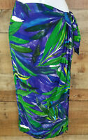 Dorothy Schoelen Skirt Vintage Wrap Tied Green Purple Palms Platinum Size 8
