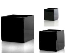 GLASS DESIGNER CUBE IN BLACK FLOWER VASE HOME OR WEDDING CHOICE OF 4 SIZES