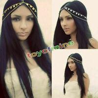 1 Stück Damen Kopfstück Haarband Metallband Haarkette Kopf Kette Stirnband