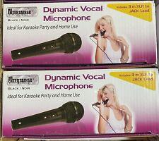 More details for 2 x black dynamic vocal karaoke microphones singing 3m lead 1/4 6.35mm jack xlr