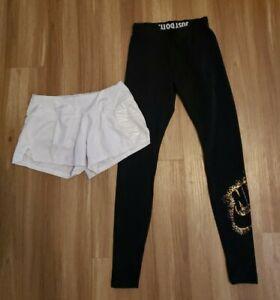 Womens Lot Nike Sportswear Metallic GOLD black leggings Crew Athletic Shorts XS