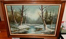 CANTRELL LARGE ORIGINAL OIL ON CANVAS WINTER SNOW RIVER LANDSCAPE PAINTING