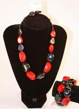 Necklace Earrings & Bracelet Set Premium Fashion Jewelry Black Red Gray JXCX New