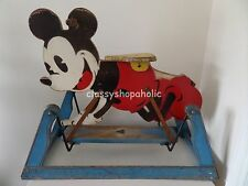 """A Genuine 1930's TRIANG """" PIE-EYED """" Mickey Mouse Wooden Rocking Horse - RARE"""