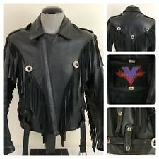 Verducci Leather Jacket Mens 38 Black Fringe Belted Full Zip Skull Bones Button