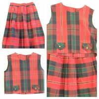 Vintage Top & Skirt Set 60's 70's 2pc Red Blue Green All Time Togs S Hipsters