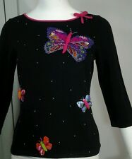 Michael Simon Beautiful Sequined Butterfly Butterflies Knit Top Sweater Sz M