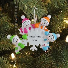 Falling Snowmen Family of 4 Personalized Christmas Tree Ornament Gift 2017