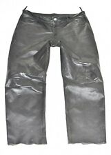 """Black Real Leather Straight Biker Motorcycle Men's Trousers Pants Size W41"""" L31"""""""