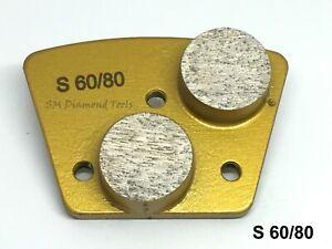 6pack: Double Round 2 Segments Diamond Grinding Polishing Pad Soft Bond 60 Grit