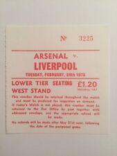 Ticket : Arsenal V. Liverpool 24/02/1976