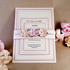 rose pink handmade wedding invitation 3 piece set. rsvp (carmelia)