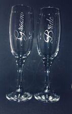 Personalised Wedding Bride Groom Champagne glass Engraved handmade Birthday Gift