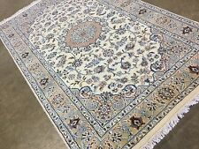 """3'.2"""" X 5'.2"""" Ivory Blue Nain Persian Oriental Area Rug Hand Knotted Wool & Silk"""