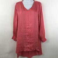 Soft Surroundings Womens XS Tunic Dress Top Lagenlook V Neck Orange High Low
